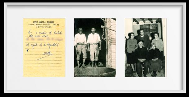 1a izq. Documento en bruto del año 1942 de la compra de toda una cosecha y de la propiedad de la misma. 2da fotografía, Trabajadores de nuestro Abuelo pisando uvas para el vino. 3a, Familia Mollá Tormo.
